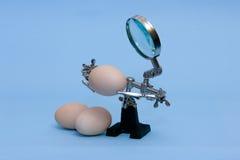 Robot Toy. Toy robot magnifier in future explore the eggs Stock Photos