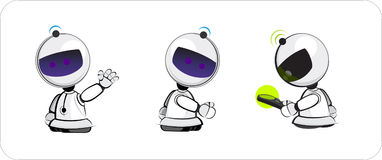 Robot toy. Three positions of friendly little toy robot vector illustration