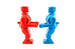 Robot toy ready to fight Royalty Free Stock Photos