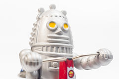 A robot toy is riding bicycle Royalty Free Stock Photography