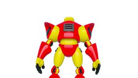 Robot toy is turning around. This cyber toy is very useful for video design creation vector illustration