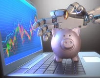 Robot Trading System And Piggy Bank vector illustration