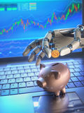 Robot Trading System And Piggy Bank Stock Photography