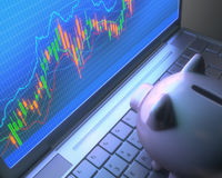 Robot Trading System And Piggy Bank Royalty Free Stock Photo