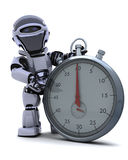 Robot with a Traditional chrome stop watch Stock Image