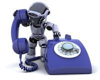 Robot with a traditional telephone. 3D render of robot with a traditional telephone Royalty Free Stock Photo