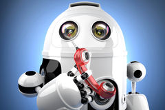 Robot with traditional telephone. 3D illustration. Contains clip Royalty Free Stock Photography