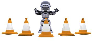 Robot with traffic cones Royalty Free Stock Image