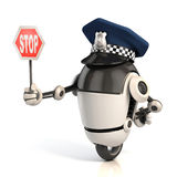 Robot traffic policeman holding the stop sign. 3d robot traffic policeman holding the stop sign Royalty Free Stock Image