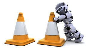 Robot with traftic cones vector illustration