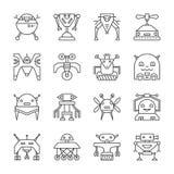 Robot Transformer line icon set editable stroke vector illustration