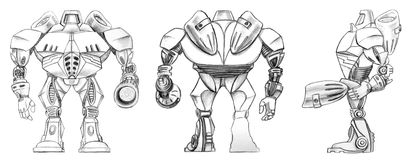 Robot transformer sketch Royalty Free Stock Photography