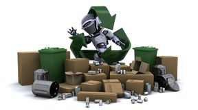 Robot with trash. 3D render of a robot with trash Royalty Free Stock Image