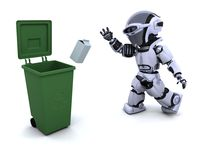 Robot with trash. 3D render of a robot with trash Royalty Free Stock Photos