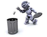 Robot with trash. 3D render of a robot with trash Stock Image
