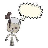 robot triste del fumetto con il fumetto Immagini Stock