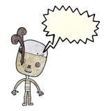 robot triste del fumetto con il fumetto Immagine Stock