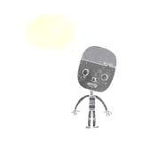 robot triste del fumetto con il fumetto Fotografia Stock Libera da Diritti