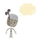 robot triste del fumetto con la bolla di pensiero Immagini Stock Libere da Diritti