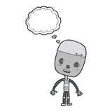 robot triste del fumetto con la bolla di pensiero Fotografie Stock