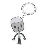 robot triste del fumetto con la bolla di pensiero Immagine Stock Libera da Diritti