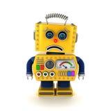 Robot triste del giocattolo sopra bianco Immagine Stock