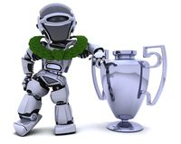 Robot with a trophy. 3D render of a Robot with a trophy Stock Photography