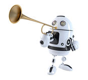 Robot trumpet player. Technology concept. 3D illustration.  Royalty Free Stock Image