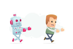Robot trying to catch up man Stock Images