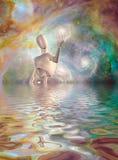 Robot trzyma galaxy głęboką przestrzeń ilustracji