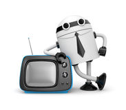 Robot with TV Stock Photo