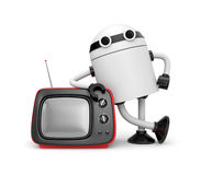 Robot with TV Royalty Free Stock Image