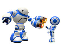 Robot with Two Plasma Guns Pointing at Enemy. An image depicting internet security, in a fictional sense. Robot pointing plasma gun at invader Royalty Free Stock Image