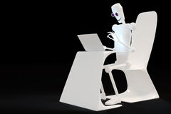 Robot typing on the computer. Robot typing on laptop isolated 3d White background royalty free illustration