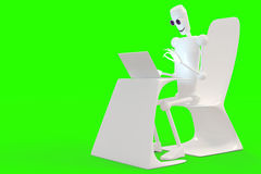 Robot typing on the computer. White vector illustration