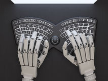 Robot typing on conceptual self-illuminated keyboard Royalty Free Stock Images