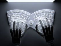 Robot typing on conceptual self-illuminated keyboard Royalty Free Stock Image