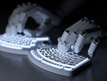 Robot typing on conceptual self-illuminated keyboard Stock Photography