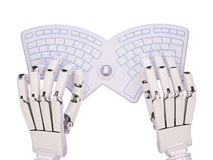 Robot typing on conceptual self-illuminated keyboard Stock Image