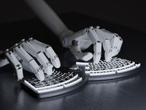 Robot typing on conceptual self-illuminated keyboard Stock Photo