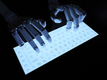 Robot typing on fluorescent keyboard Stock Photography