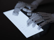 Robot typing on fluorescent keyboard Royalty Free Stock Photos