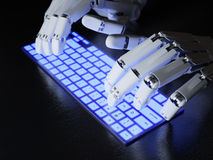 Robot typing on keyboard. Robot typing on conceptual keyboard Royalty Free Stock Photo