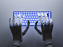 Robot typing on keyboard stock image