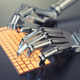 Robot typing on keyboard Royalty Free Stock Photography