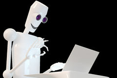 Robot typing. On laptop, black background stock illustration