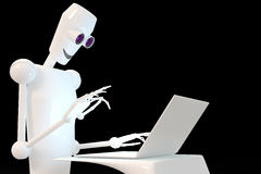 Robot typing on laptop. Black background, 3d stock illustration