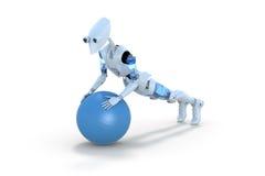 Robot Używać ćwiczenie piłkę fotografia stock