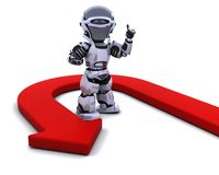 Robot with u-turn arrow. 3D render of a robot with u-turn arrow Stock Photography