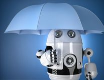 Robot with umbrella. Security concept. Contains clipping path Stock Photo